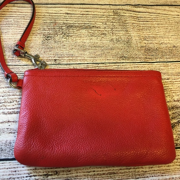 Coach Handbags - COACH Persimmon Pebbled Leather Wristlet Purse